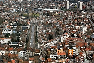Aerial view of city buildings in Brussels