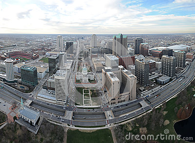 Aerial View of the city of Saint Louis, Missouri