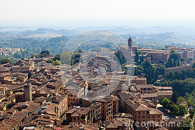 Aerial View on the City of Siena and Nearby Hills