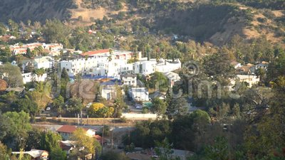 Aerial view of the cityscape of Highland Park and metro. Los Angeles, California, United States stock footage