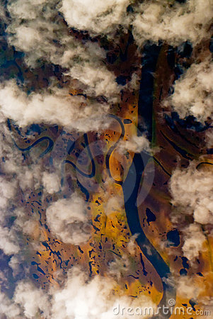 Aerial view  through clouds