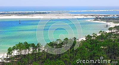 Aerial view of coastal waters