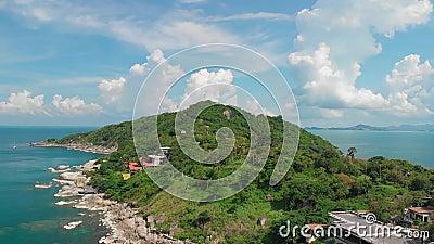 Aerial view of coastline of Koh Phangan island in Thailand stock video footage