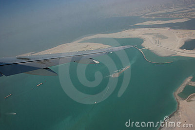 Aerial view of construction of island in dubai