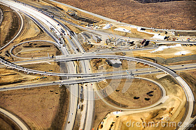 Aerial view of construction of new freeway ramp in the American