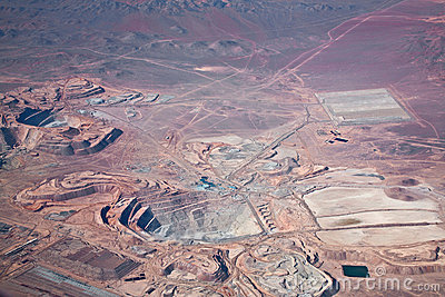 Aerial view of copper mine in Atacama desert