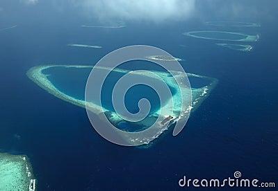 Aerial view - Coral Atolls - Maldives