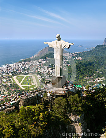 Aerial View of Corcovado Mountain and Christ the Redemeer in Rio Editorial Photo
