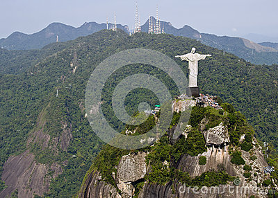 Aerial View of Corcovado Mountain and Christ the Redemeer in Rio
