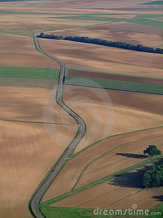 Aerial view of countryside road