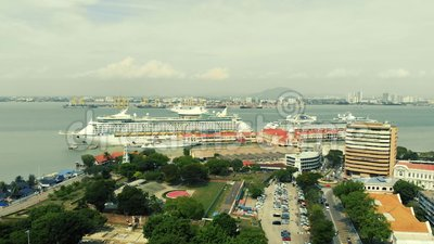 Aerial view of cruise ship. Kuala Lumpur, Malaysia - August 12, 2018 : Aerial view of cruise ship stops at Penang`s port before heading to Phuket stock video