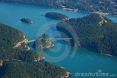 Aerial View of Deception Pass Bridge