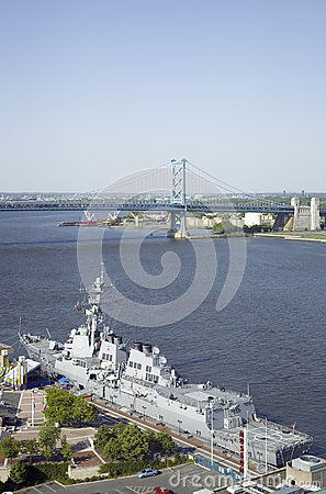 Aerial view of Delaware River, Editorial Stock Image