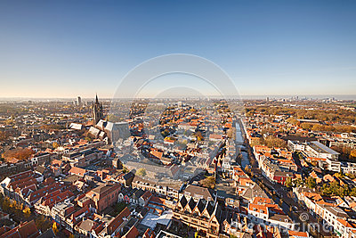 Aerial view of Delft, the Netherlands
