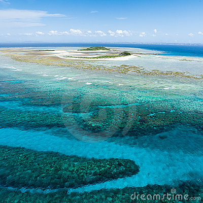 Aerial view of deserted tropical island