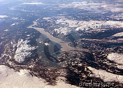 Aerial view of the distant scandinavian fiord