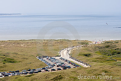 Aerial view of a Dutch beach withn a parking area
