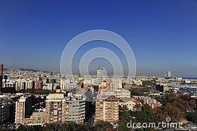 Aerial View of East Barcelona, Spain Coast Line