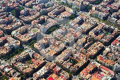 Aerial view  of  Eixample  district. Barcelona,  Spain
