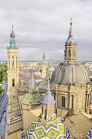 Aerial view of el Pilar cathedral