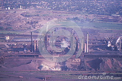 An aerial view of a factory