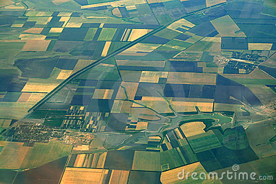 Aerial view of farmlands