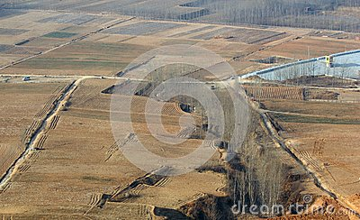 Aerial view of the fields
