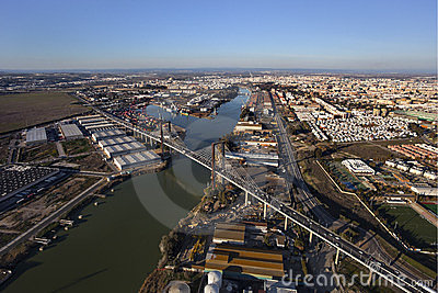 Aerial view of the fifth centenary bridge, Seville
