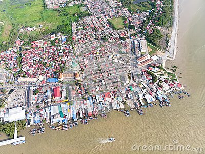 Aerial view in fisherman village Stock Photo