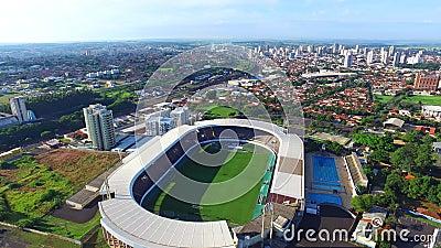 Aerial view of football stadium in Araraquara Fonte Luminosa, Sao Paulo state - Brazil. Aerial view of football stadium in Araraquara, Sao Paulo state - Brazil stock footage