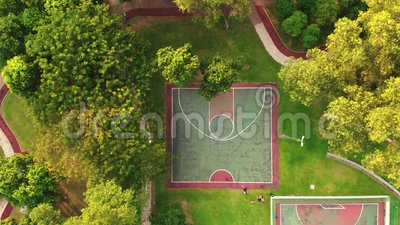 Aerial view of futsal and basketball court. In the park stock video