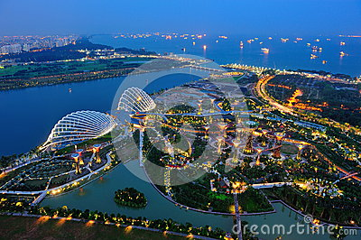 Aerial view of Gardens by the Bay in Singapore Editorial Stock Image