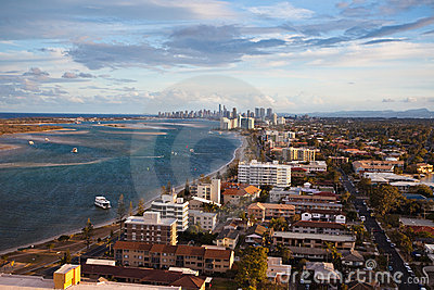 Aerial view of Gold Coast shoreline