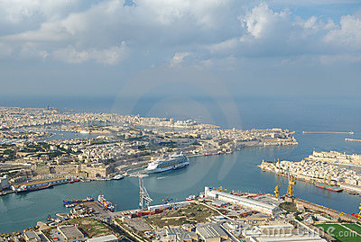Aerial view of Grand Harbour port,  La Valletta