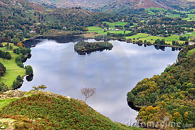 Aerial view of Grasmere in Aut