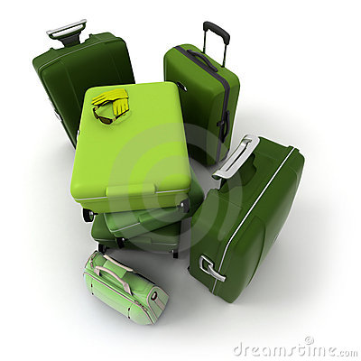 Aerial view of a green luggage kit