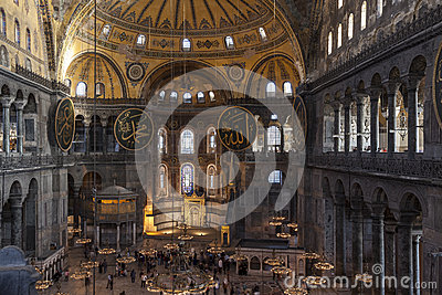 Aerial view of Hagia Sophia interior Editorial Image