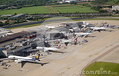 Aerial view of Heathrow Airport Editorial Stock Image
