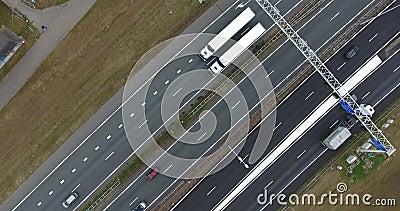 Aerial view of A16 highway, zwijndrecht, Netherlands. Aerial view of A16 highway,autumn cloudy time in zwijndrecht, Netherlands stock video footage