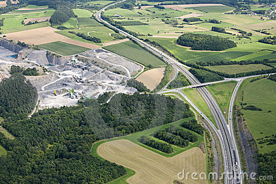 Aerial view : Highway and a quarry in countryside