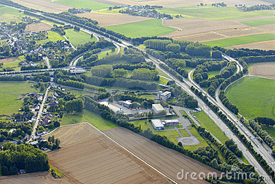 Aerial View : Highways junction in countryside