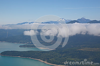 Aerial View of Hood Canal and Olympic Mountains