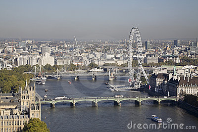 Aerial view on Houses of Parliament and London Eye Editorial Stock Photo