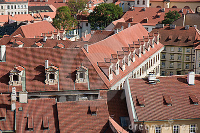 Aerial view of houses in Praha, Czech Republic