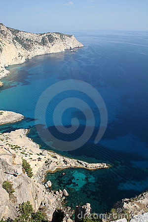 Aerial View of Ibiza Island Coastline