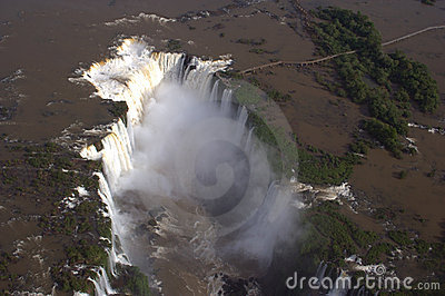 Aerial view of Iguazu Falls, Brazil, South America