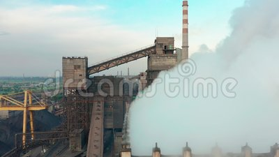 Aerial view. Industry Pipe Pollute the Atmosphere With Smoke, Ecology pollution, Industrial factory pollutes, smoke. Stacks stock footage