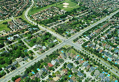 Aerial view of intersection in residential area