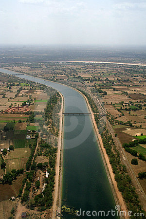 Aerial view irrigation canal in India