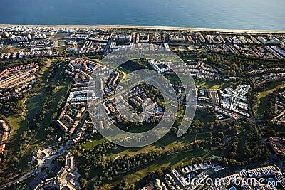 Aerial view of the Islantilla beach